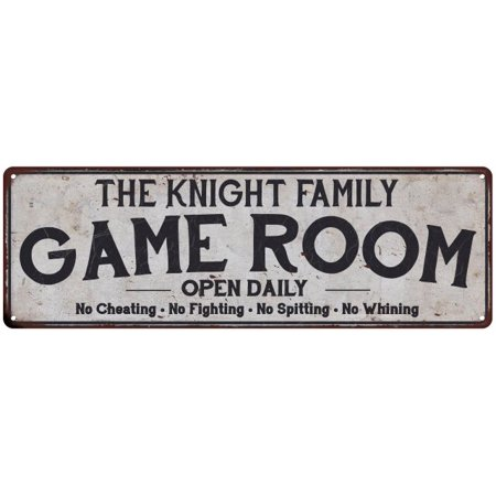 - THE KNIGHT FAMILY Game Room Country Look Gloss Metal Sign 6x18 Distressed Décor G61800626