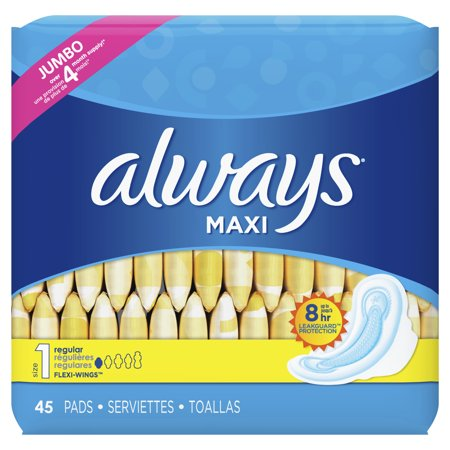 Always Maxi Pads, Winged, Unscented, Regular Absorb, Size 1, 45 ct