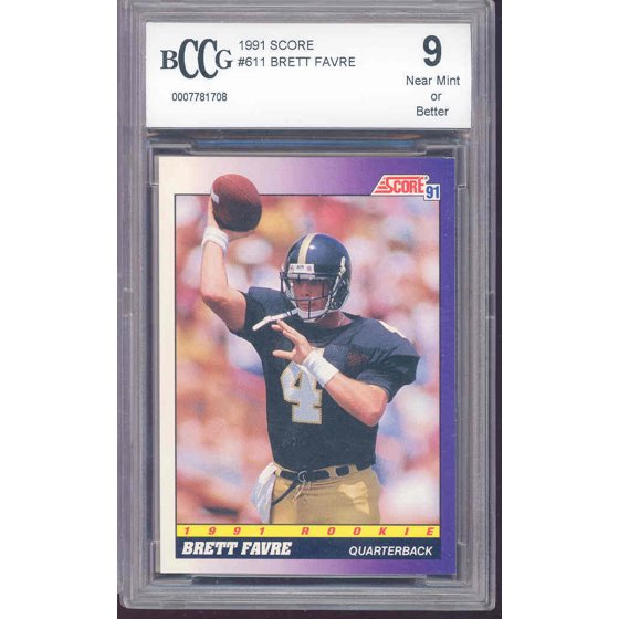 1991 Score 611 BRETT FAVRE Green Bay Packers Rookie Card BGS BCCG 9