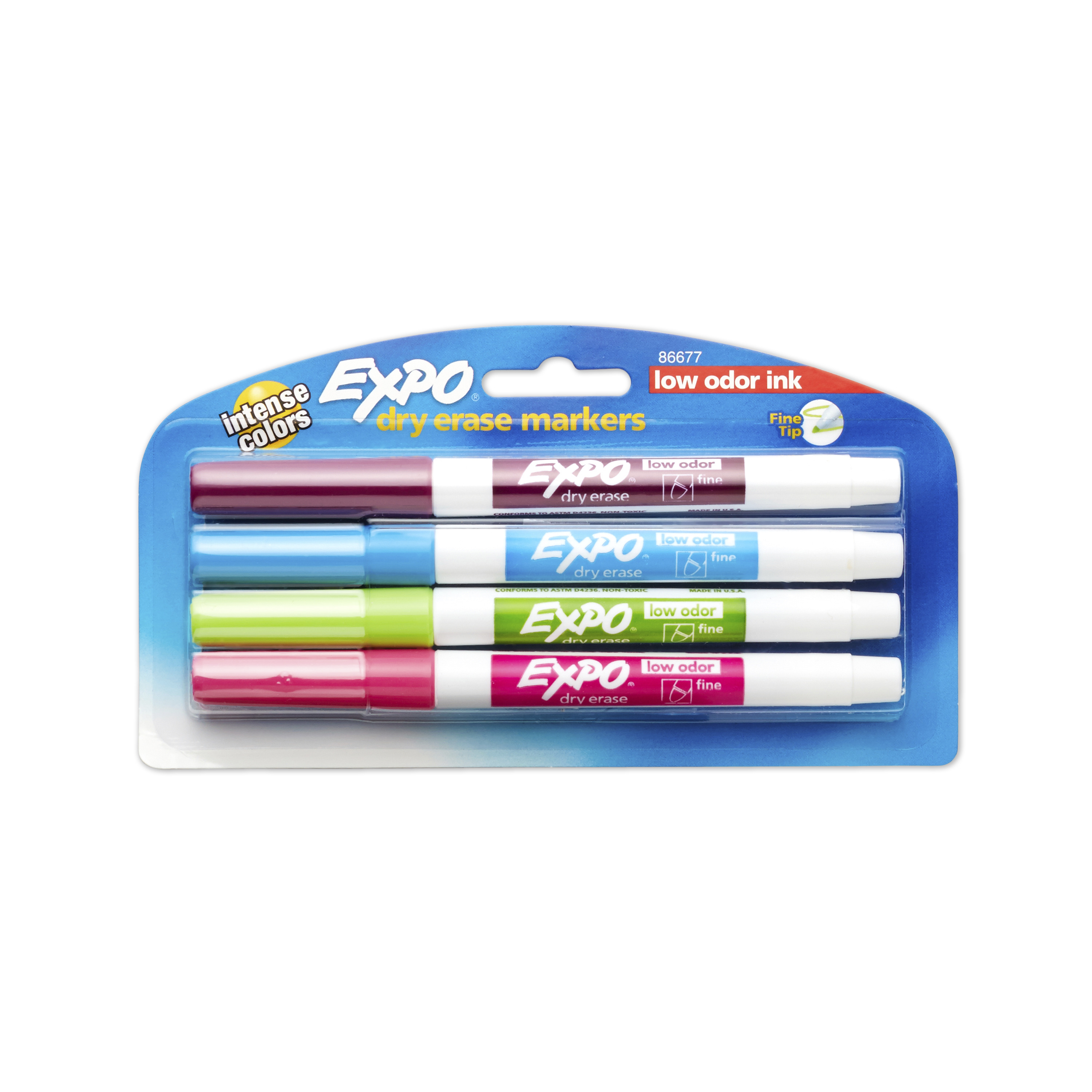 EXPO Low Odor Dry Erase Markers, Fine Tip, Intense Colors, 4 Pack