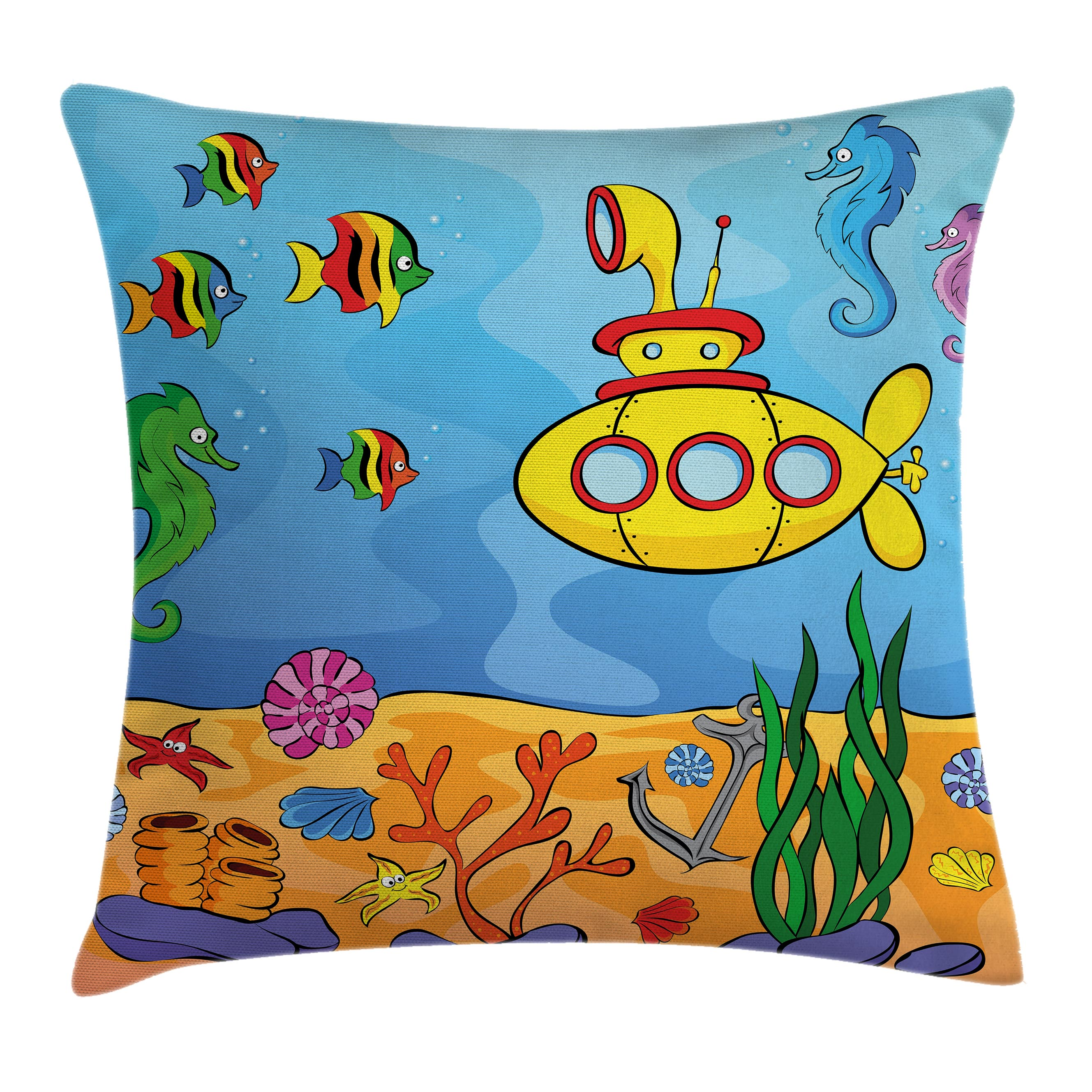 Yellow Submarine Decor Throw Pillow Cushion Cover, Underwater Theme Submarine Seahorse Starfish and Fish Print, Decorative Square Accent Pillow Case, 16 X 16 Inches, Marigold and Aqua, by Ambesonne