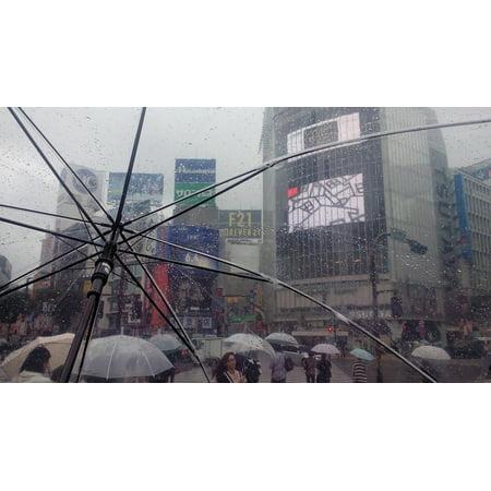 LAMINATED POSTER Tokyo Japan Umbrella Transparent Rain Shibuya Poster Print 24 x 36 (Tokyo Shibuya Halloween)
