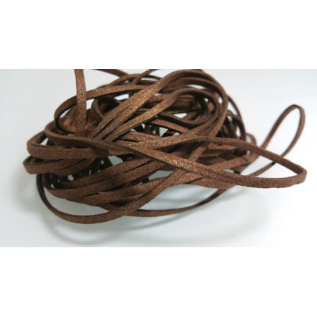 5 YARDS - 15 FEET Metallic Brown Faux Suede Cord Leather Lace Ribbon Soft 3mm x 1.5mm