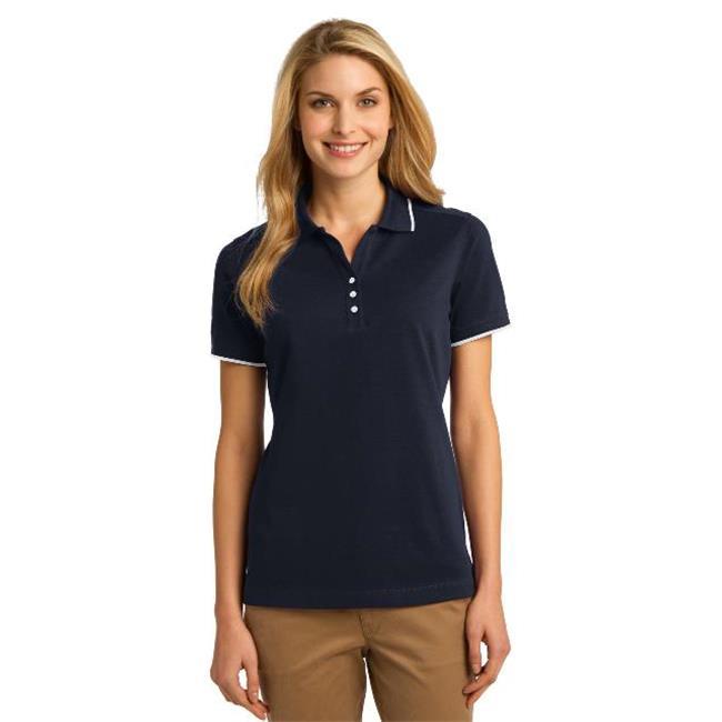 Port Authority® Ladies Rapid Dry™ Tipped Polo. L454 Classic Navy/ White M - image 1 de 1