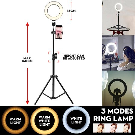 Grtsunsea 6.3inch 5500k Photography Dimmable LED Selfie Ring Light Youtube Video Live Photo Studio Light With 160cm Tripod Phone Holder ()