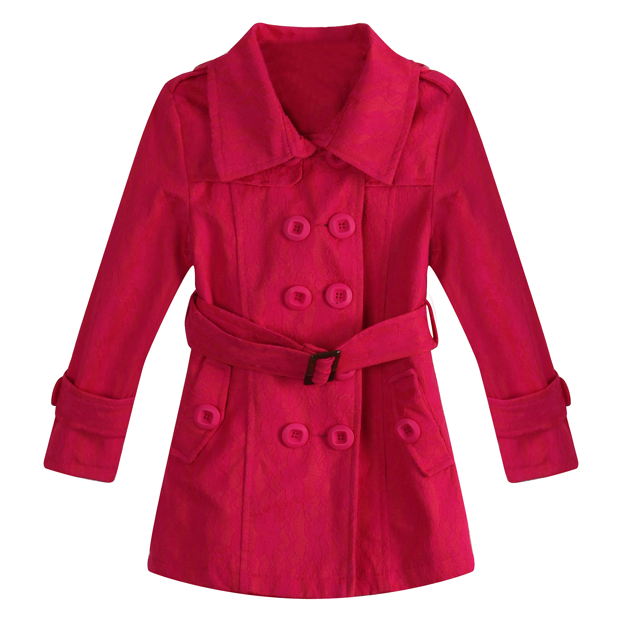 Richie House Little Girls Rose Buckle Belt Long Coat 4