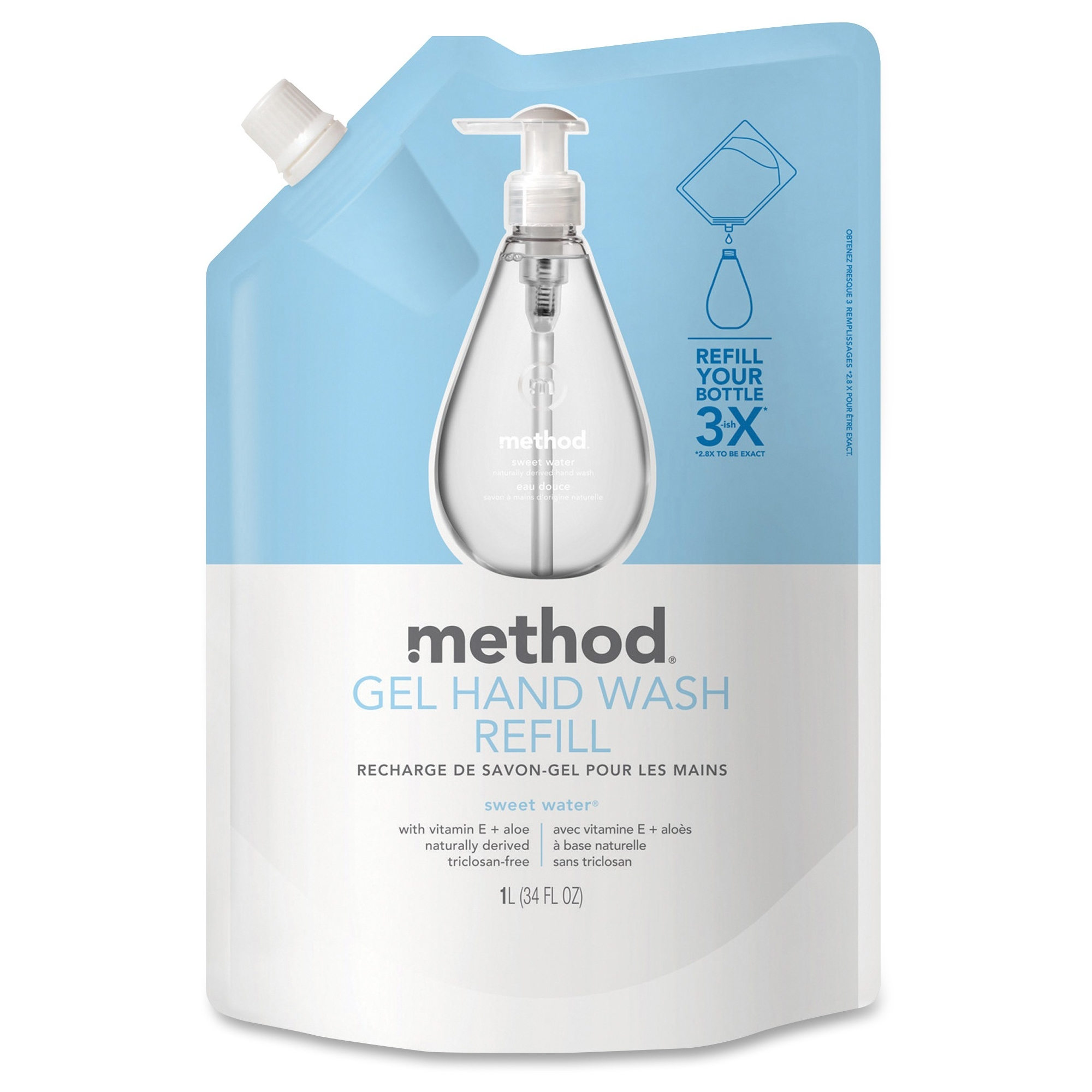 Method Sweet Water Gel Hand Wash Refill - Sweet Water Scent - 34 Fl Oz [1005.5 Ml] - Squeeze Bottle Dispenser - Hand - Clear - Triclosan-free - 6 / Carton (00652ct)