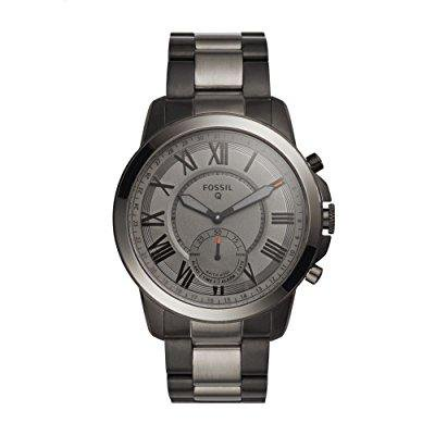 fossil q grant gen 2 men's smoke-tone stainless steel hybrid smartwatch ftw1139
