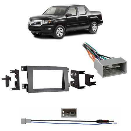 Fits Honda Ridgeline 2009-2014 Double DIN Harness Radio Dash Kit - Gray 2009 Honda Ridgeline Dash