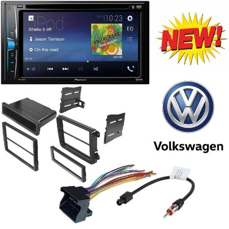 "Pioneer Double 2 Din AVH-200EX DVD/MP3/CD Player 6.2"" Touchscreen Bluetooth W/ VW Double Single Din Car Stereo Radio Installation Dash Mount Trim Panel Kit Harness Antenna"