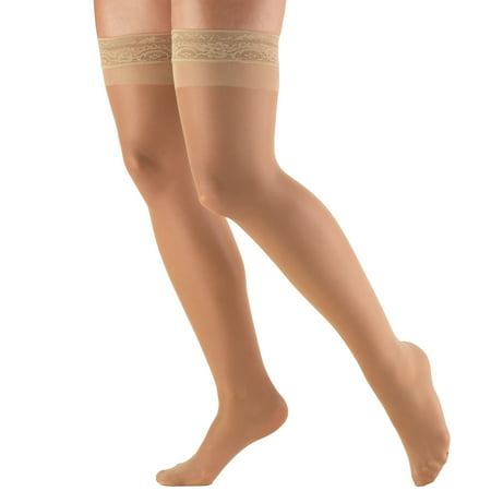 Christmas Thigh High Stockings (Women's Stockings, Thigh High, Sheer: 8-15 mmHg, Beige,)