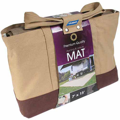 Camco 7' x 15' RV Awning Leisure Mat, Brown with Canvas Bag (42811)