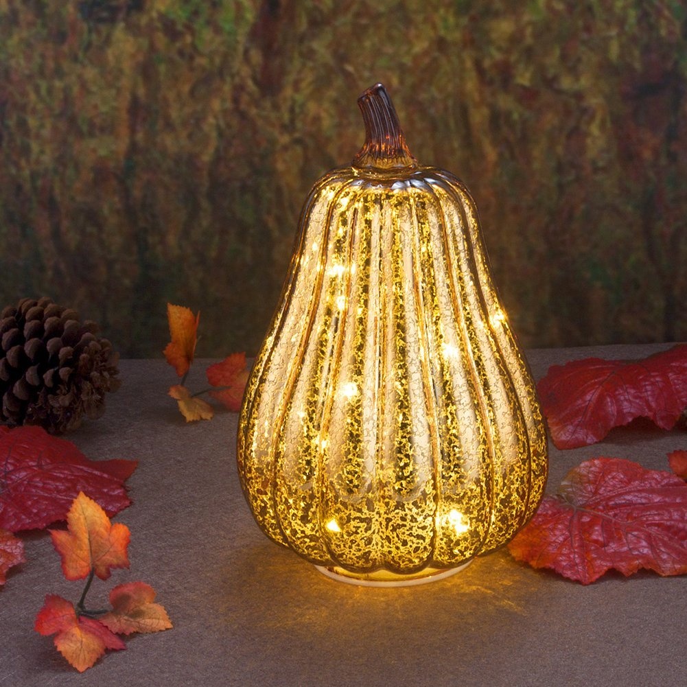 """Mercury Glass Home Decor Pumpkin Light, 8.7"""" Battery Operated LED Pumpkin with Timer for Fall, Thanksgiving and Halloween Decoration(Gold)"""