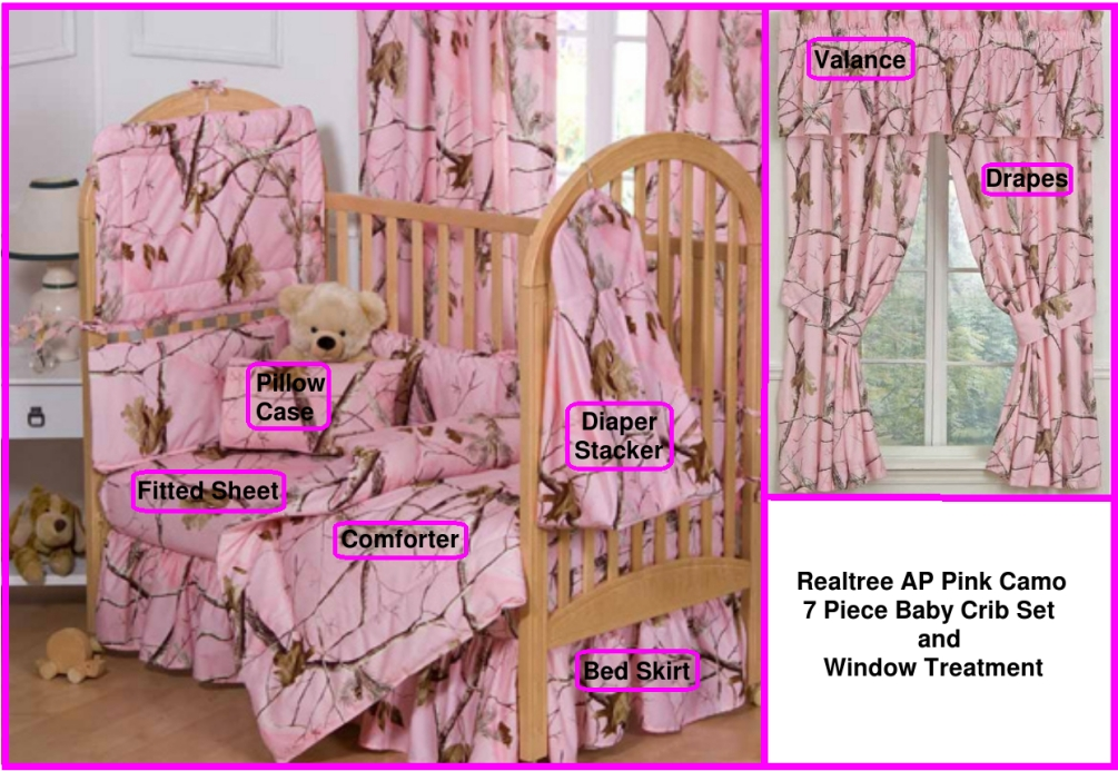 Realtree AP Pink 7 Pc Baby Crib and Window Treatment Set by Realtree
