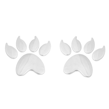 2 Pcs Silver Tone Bear Footprint Pattern Car Badge Stickers