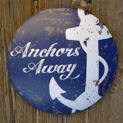Rustic Anchors Away Round Dome Metal Button Sign Beach House/Bar/Pub Wall Decor