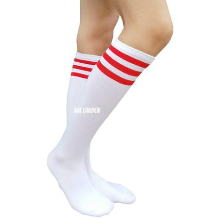 AM Landen Womens Stripe Knee High Socks Stripe Socks Cheerleader Socks Uniform Socks (A. White/Red Stripe)