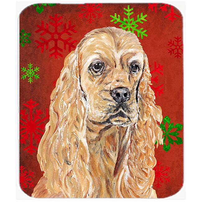 Cocker Spaniel Red Snowflake Christmas Glass Cutting Board Large