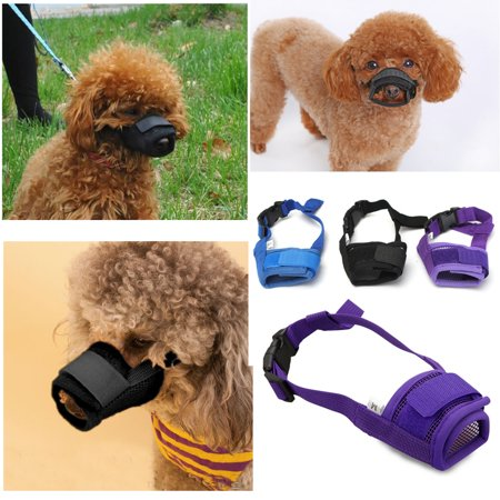 Pet Outdoor Dog Mesh Mouth Muzzle Mask Nylon No Bark Bite Chewing Adjustable S-XL Size Dog Collars & Leashes ()
