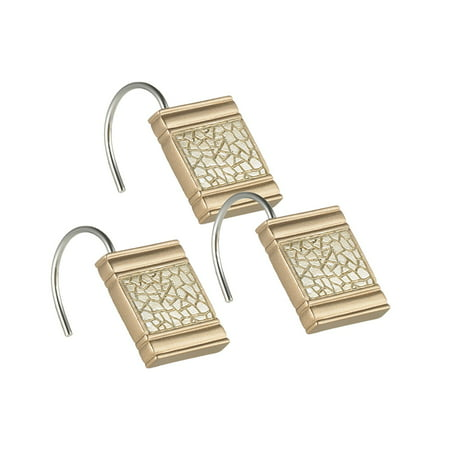 839258 Sinatra Shower Hooks, Champagne Gold, Design complements any Contemporary decor By Popular Bath From USA