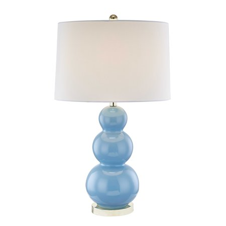 Benzara Modern Style Ceramic Table Lamp with Triple Gourd Base, Blue and White ()