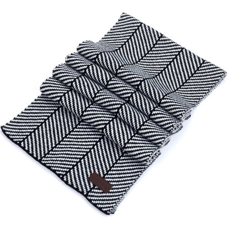 Gallery Seven Winter Scarf for Men, Soft Knit Scarve, in an Elegant Gift Box - Black/White ()