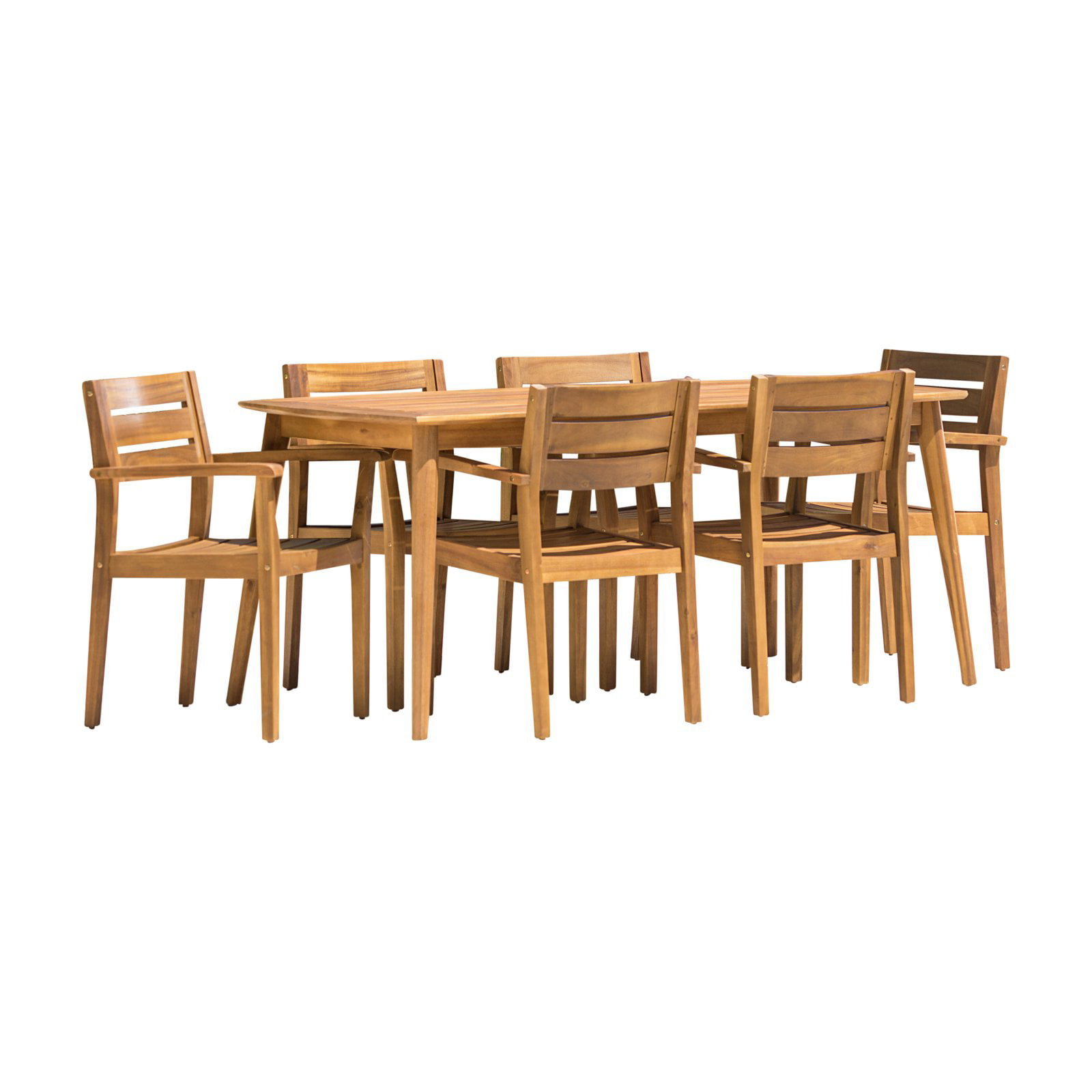 Christopher Knight Home Stamford Outdoor 7 Piece Rectangle Acacia Wood Dining Set By Walmart Com Walmart Com