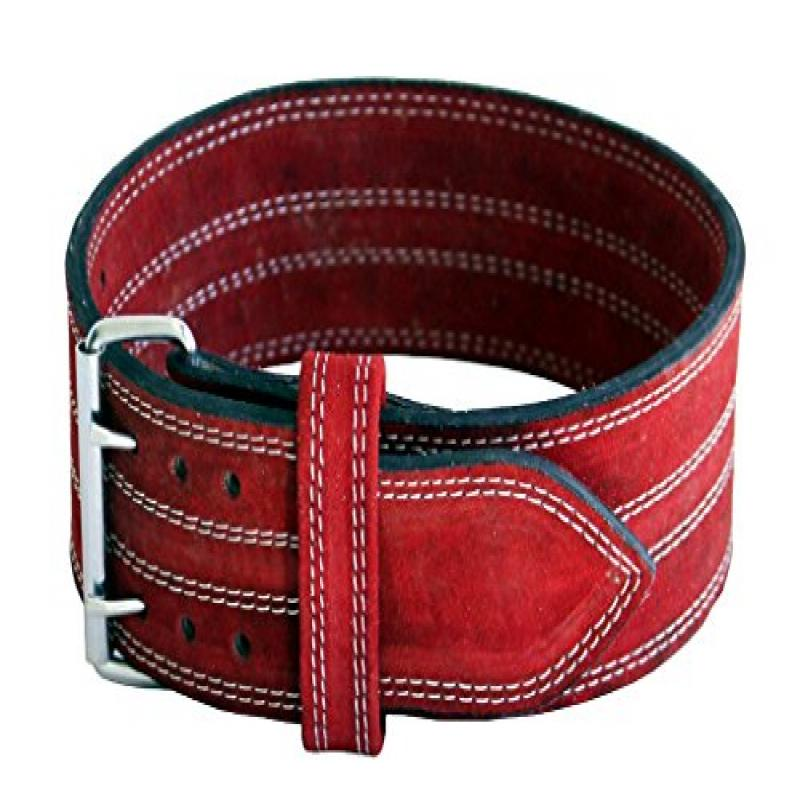 "Leather Power Weight Lifting Belt- 4"" Wide Red (Large) Double Prong"