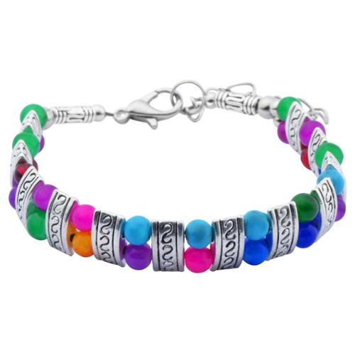 Zodaca Silver/Colorful Jade National Folk Style Natural Adjustable Bracelet Women Fashion Jewelry [6.5-7.7]""
