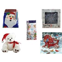 """Christmas Fun Gift Bundle [5 Piece] -  Time  Windsock Santa - 19-Light Snowflake Tree Topper - Party Expressions Plastic Table cover 54"""" x 108"""" Rectangle - White  Bear  9"""" by Steven Smith - Cobble H"""