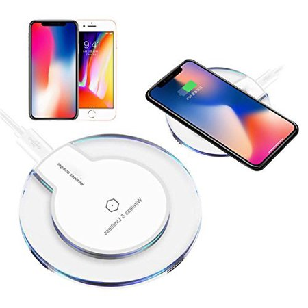 Qi Wireless Charger, FREEDOMTECH Ultra-Slim Qi Charging Pad for iPhone 8 / 8plus, iPhone X, Samsung Galaxy S7 / S6 / Edge / S9 Plus, Note 5 8, Nexus and all Qi-Enabled