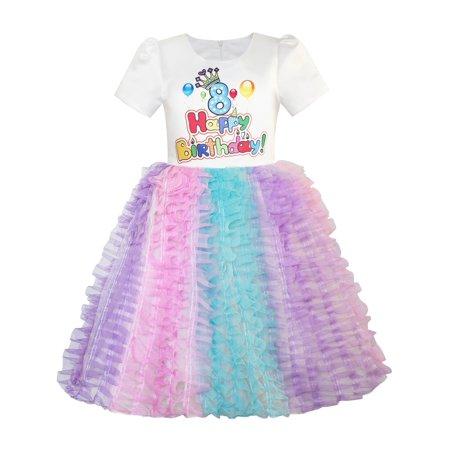 Girls Dress Happy Birthday Princess Party 1st Tutu 2
