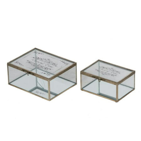 Set of 2 Clear and Brown Vintage Distressed Finish Jewelry Boxes 8.5""