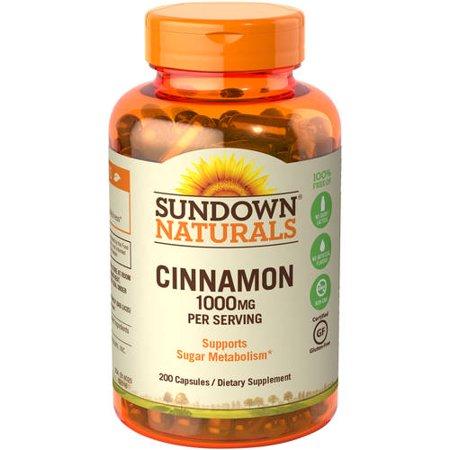 Sundown Naturals Cinnamon 1000mg Capsules, 200 Ct