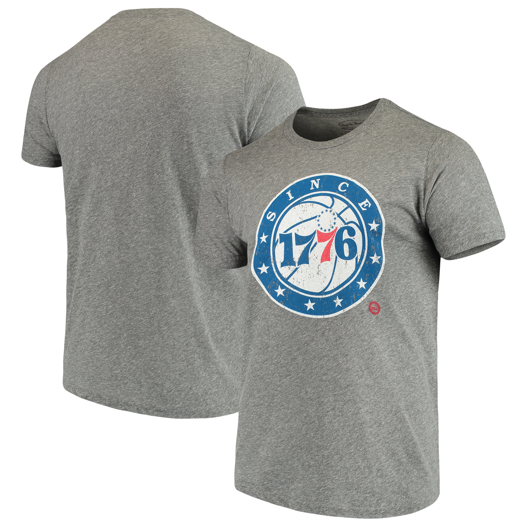 Philadelphia 76ers Majestic Threads Since Tri-Blend T-Shirt - Heathered Gray