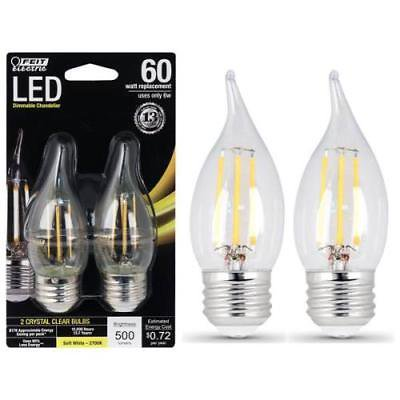 FEIT Electric 6W/60W Dimmable LED, Flame Tip, E26, 2700K 2-Pack