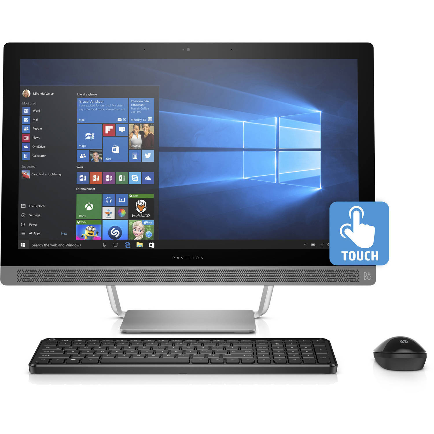 "HP Pavilion 24-b010 All-in-One Desktop PC with AMD A9-9410 Processor, 8GB Memory, 23.8"" touch screen, 1TB Hard Drive and Windows 10 Home"