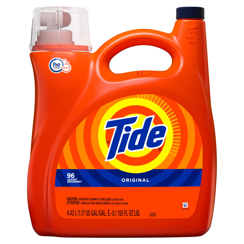 Tide HE Turbo Clean Liquid Laundry Detergent, Original, 96 Loads 150 fl oz