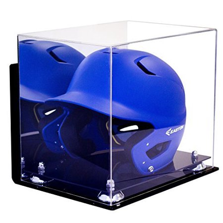 Helmet Mounted Display - Deluxe Acrylic Baseball Batting Helmet Display Case with Silver Risers Mirror and Wall Mount (A012-SR)