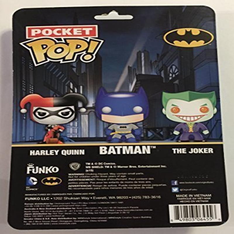Funko Pocket Pop DC Comics Super Heroes Batman Joker Harley Quinn Vinyl Figure 3-Pack by