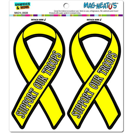 Yellow Refrigerator - Support Our Troops Yellow Awareness Ribbon Automotive Car Refrigerator Locker Vinyl Magnet Set