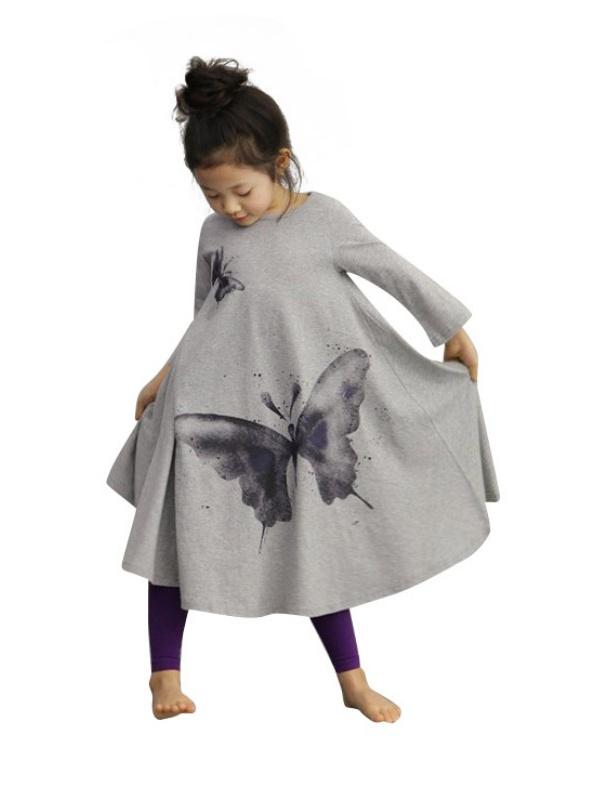 2017 New Girls Dress Spring Autumn Children's Clothing Cute Butterfly Long Sleeve 2 Colors Cotton Dresses 1pcs Hot Sale