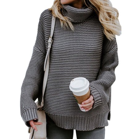 a308421b9a dailymall - Women Winter Warm Turtleneck Chunky Knitted Sweater Thick Pullover  Jumper - Walmart.com