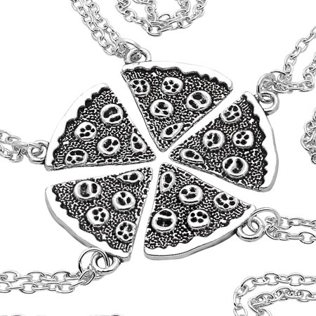 Art Attack Silvertone Whole 5 Pizza Pie Pepperoni Lover Best Friends Forever BFF Matching Quintet Pendant Necklace Gift