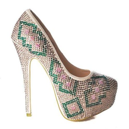 Linda13 by Mascotte, Design Rhinestone Studded Platform Dress Pump Stiletto Heel Sandals