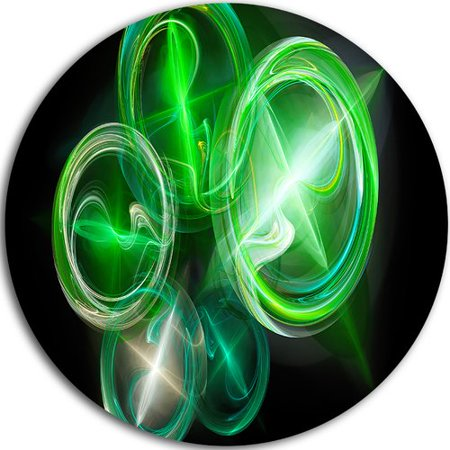 Design Art Green In Black Fractal Desktop Wallpaper Graphic Art Print On Metal