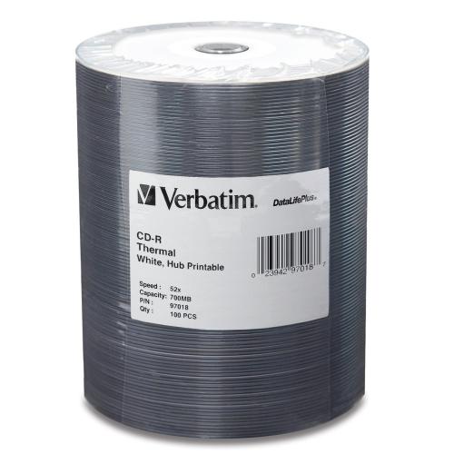Verbatim CD-R 80 min/700MB 52x DataLifePlus White Thermal Hub-Printable Tape Wrap, 100pk