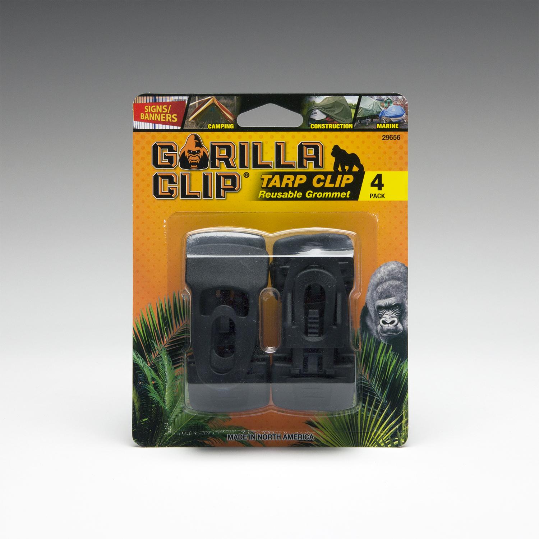 Gorilla Clip 4-Pack Heavy Duty Reusable Tarp Clip - Black