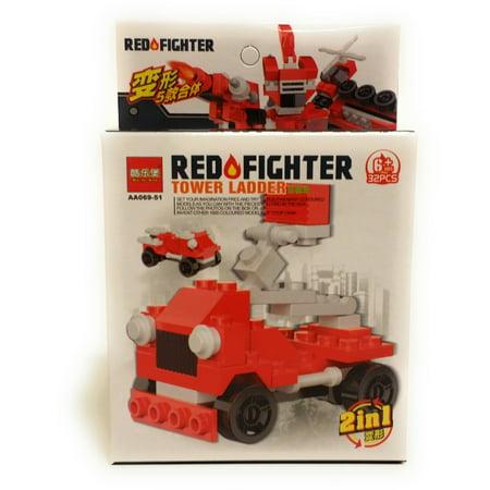 Firefighter & Police Vehicle Tower Ladder 2-in-1 32 pc Building Block Set, Red (Firefighter Ladder Belt)
