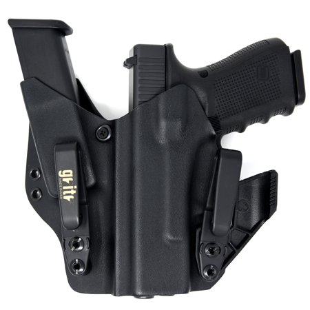 Gritr Holsters with Magazine Holder, Universal Holster for Glock 17, 19, 22, 23, 26, 27, 31, 32, 33 (Gen 1-5) - Made in USA, KYDEX, Inside The Waistband - IWB Holster, Left